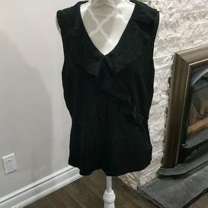 Nygard black ruffled sleeveless shirt